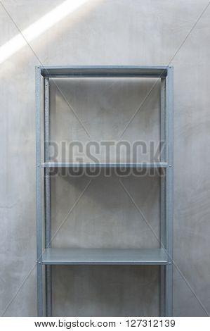 Empty  Zinc Shelf With Concrete Wall Background