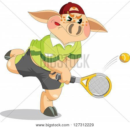 little pig playing tennis on the court