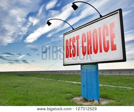 best choice top quality label best sign best product comparison billboard with text and word concept