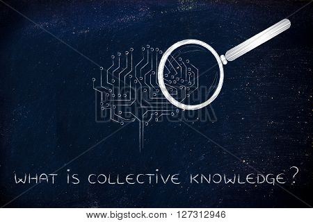 Electronic Brain With Magnifying Glass, Collective Knowledge