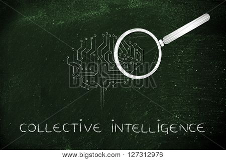 Electronic Brain With Magnifying Glass, Collective Intelligence