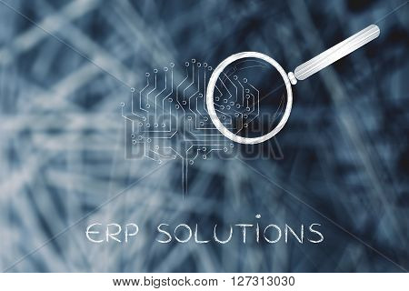 Electronic Brain With Magnifying Glass, Erp Solutions