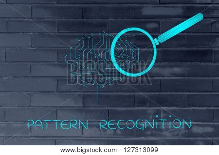 Electronic Brain With Magnifying Glass, Pattern Recognition