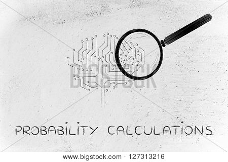 Electronic Brain With Magnifying Glass, Probability Calculations