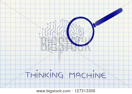 Electronic Brain With Magnifying Glass, Thinking Machine
