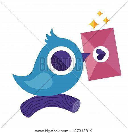 Blue flat bird postman with love letter or message vector character. Colorful vector character good for motion design. Email concept