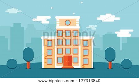 School or university high vector flat city house. With vector editable tree around and city vector silhouette city landscape on the background