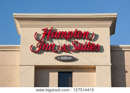 DARTMOUTH CANADA - APRIL 25 2016: Hampton Inn is currently the largest franchise in the United States. Trademarked by Hilton the hotel brands include: Hampton Inn Hampton Inn & Suites Hampton Hotels and Hampton by Hilton.