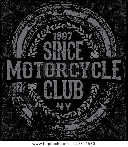 Vintage retro illustration typography t-shirt printing motorcycle tee design