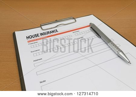 House Insurance application form. accident, agent, agreement,