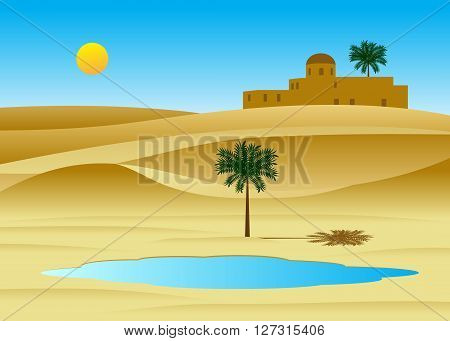 desert. A desert landscape, the palace from sand and the lake with a palm tree