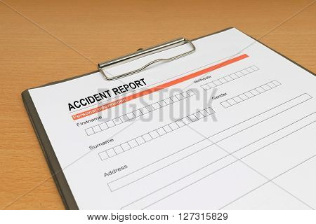 Accident report form, claim, medical, legal, contract