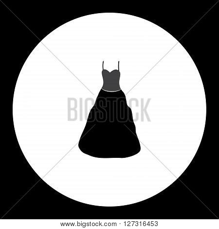 Simple Ladies Evening Dress Isolated Black Icon Eps10
