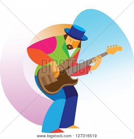 jazz guitarist plays a jam session on stage