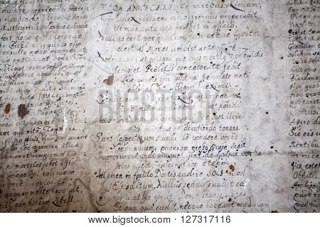 Biertan, Transylvania, Romania - 25 July, 2015: . Scriptures fragments in an old saxon village with fortified church in Transylvania