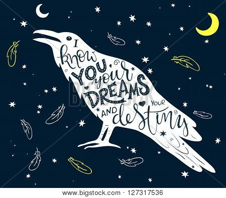 vector hand drawn lettering inscribed in raven silhouette surrounded with curly swirly arrow feather shapes.