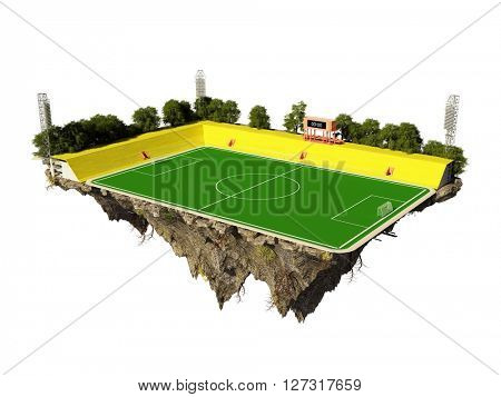 Football Field on the island in the sky.,3d render
