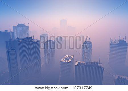 Dawn in a modern city.,3d render
