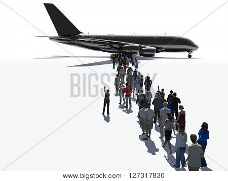 3D illustration of aircraft and people on white background.