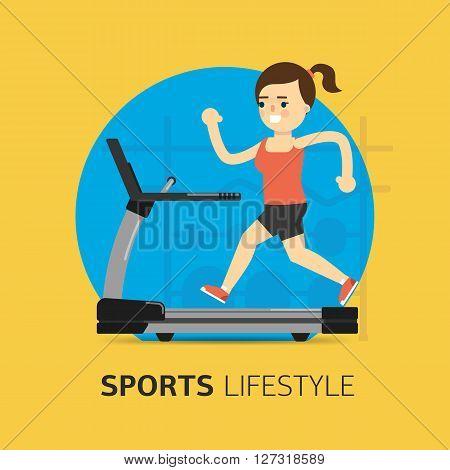 Illustration Of Girl Running On The Treadmill.