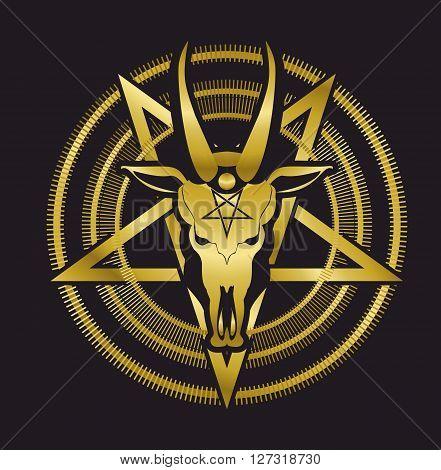 occult sign skull goat in the pentagram on a black background