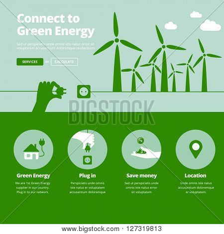 Green energy supplier. Connect to wind power plants energy. Website banner illustration and services icons.