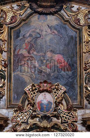 KOTARI, CROATIA - SEPTEMBER 16: The Annunciation, Saint Mary altar in the church of Saint Leonard of Noblac in Kotari, Croatia on September 16, 2015.