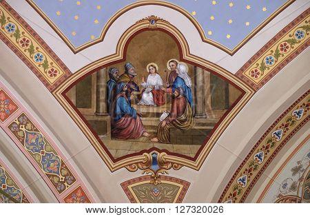 STITAR, CROATIA - AUGUST 27: Twelve year Jesus in the Temple, fresco in the church of Saint Matthew in Stitar, Croatia on August 27, 2015