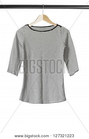 Striped sailor sweatshirt on clothes rack isolated over white