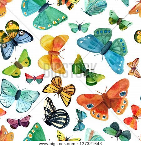 A seamless background pattern with many different watercolour butterflies hand painted in the style of vintage botanical art