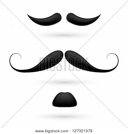 A set of three black moustache on white.