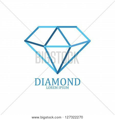 Diamond logo isolated. Brilliant gemstone sign. Vector illustration