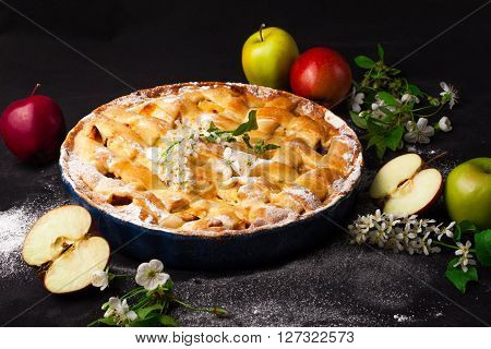 Delicious homemade rustic half-closed apple pie with fresh apples and apple-tree flowers on black background. Contrast vintage image.