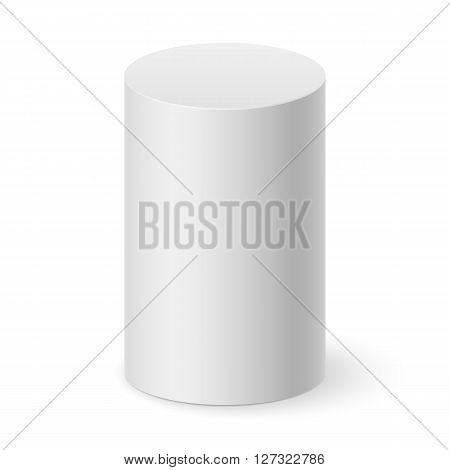 White cylinder isolated on white background for design