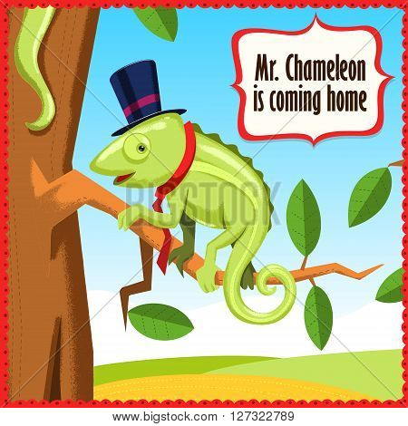 Chameleon cartoon funny animal vector illustration. Landscape nature drawing