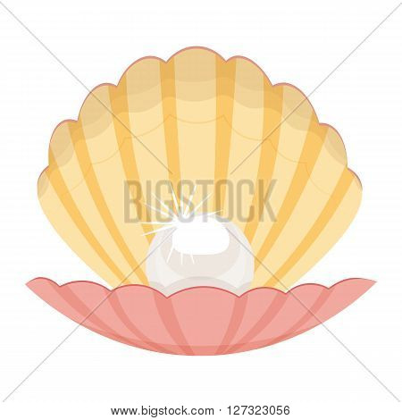 pearl in a shell vector illustration isolated on a white background