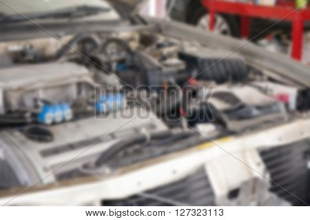 Defocus Of Car Engine In The Hood
