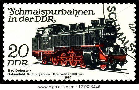 STAVROPOL RUSSIA - APRIL 03 2016: A Stamp printed in the GDR shows Bad Doberan - Ostseebad Kuhlungsborn Lokomotive circa 1980