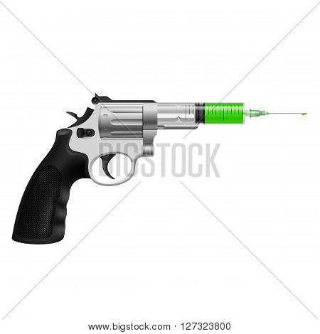 Syringe with green liquid in revolver. Killing injection medicine or drug