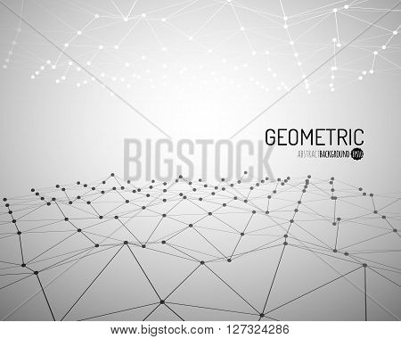 Technology vector background. Wireframe polygonal landscape. Mountains with connected lines and dots. Vector illustration.