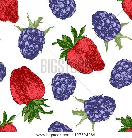 Hand drawn seamless pattern with strawberries and blackberries