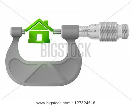 Concept of home sign and measuring tool. Qualitative vector image for architecture building real estate construction development housing etc. It has transparency blending modes mesh blend