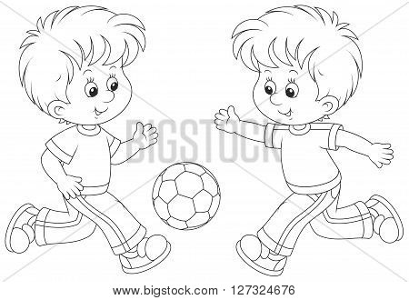 Vector illustration of two boys playing football