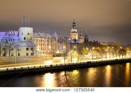 Night Winter Scene In Riga, Latvia