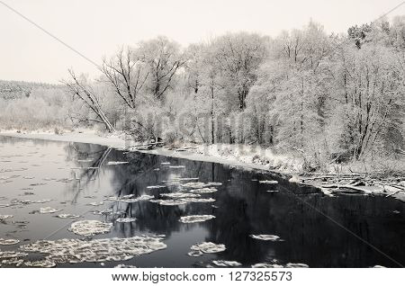 Winter River And Hoar-frost On Trees