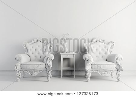 3d vintage arm chair interior render