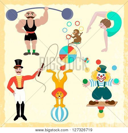 Seth circus theme. Clown athlete gymnast trainer lion and monkey on a ball juggler on a bicycle