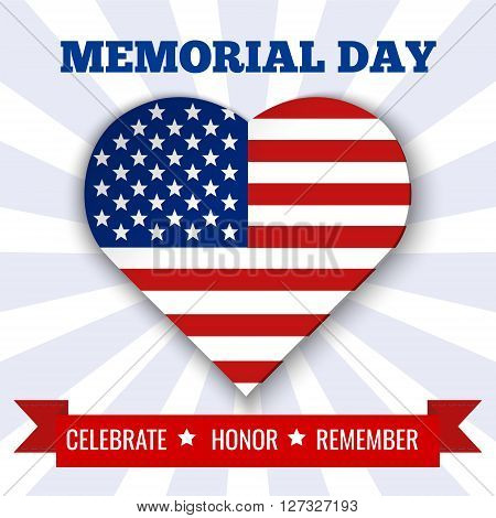Memorial Day background. Vector illustration with heart text and ribbon for posters flyers decoration. Illustration in colors of USA flag.