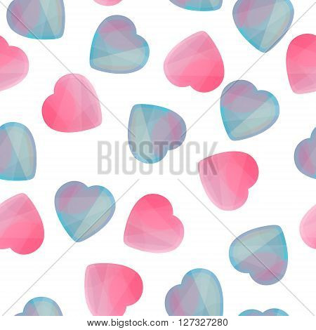 Seamless pattern of geometric hearts icons in low poly style. Abstract shapes for business visual identity - triangle polygons and rectangular designs. Abstract vector illustrations for Valentine's Day.