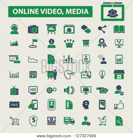 online video, media icons